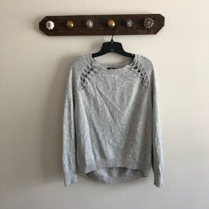 Express silver lace up sweater